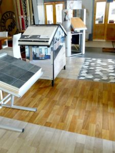 Sheet vinyl floor and stands